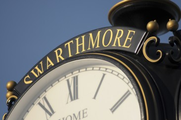The Swarthmore Boro clock at the SEPTA train station.