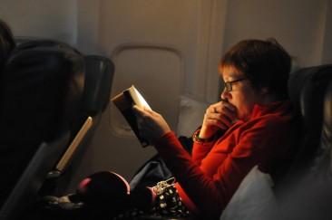 Reading on a jet plane.